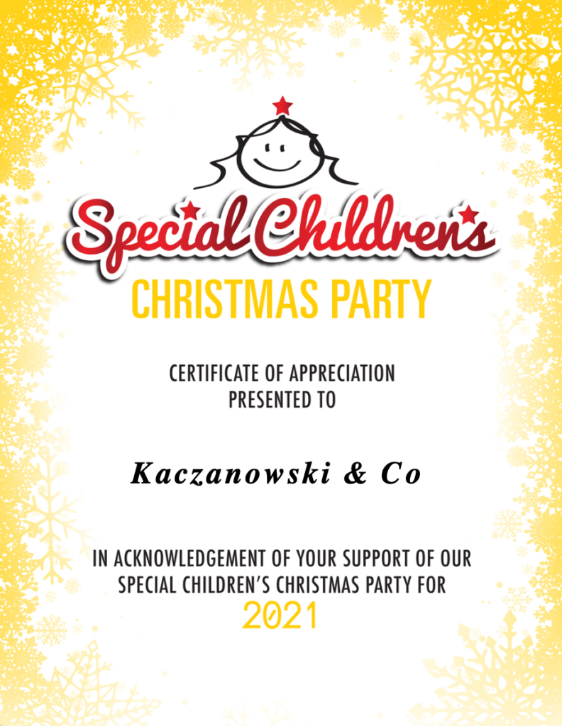 Special Children's Christmas Party Certificate of Appreciation